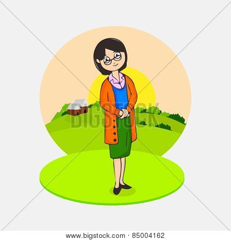 International Women's Day celebrations with a lady in stylish pose on nature background.