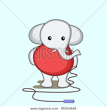 Character of a cute elephant  holding a skipping rope in hands.