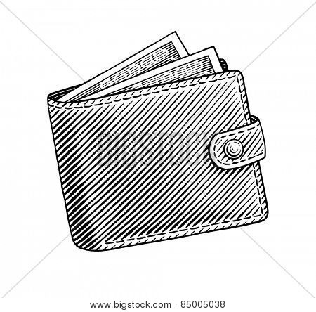 Engraved illustration of wallet full of dollars
