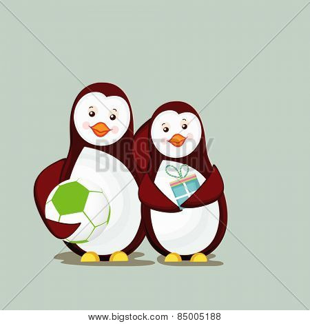 Cute couple of penguins holding ball and gift box.