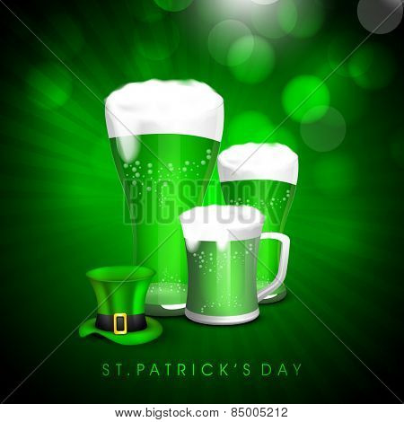 Green beer in mugs with glossy leprechaun hat on rays background for Happy St. Patrick's Day celebration.