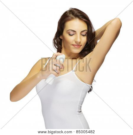 Young healthy girl with deodorant isolated