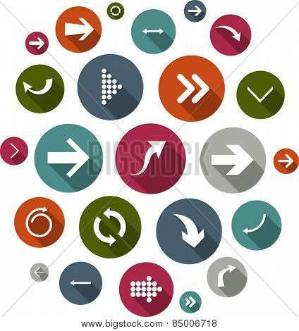 Cloud collection of round flat modern arrow icons. Vector illustration.
