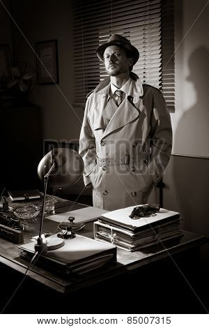Vintage Detective Standing In His Office