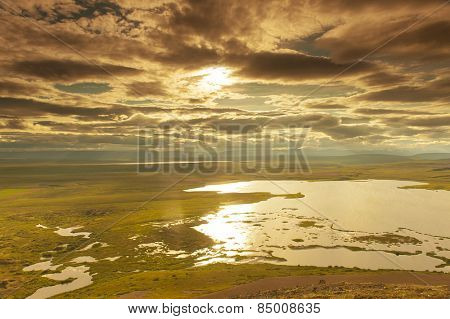 View at lakes from the Vindbelgur volcano near the lake Myvatn - northern Iceland