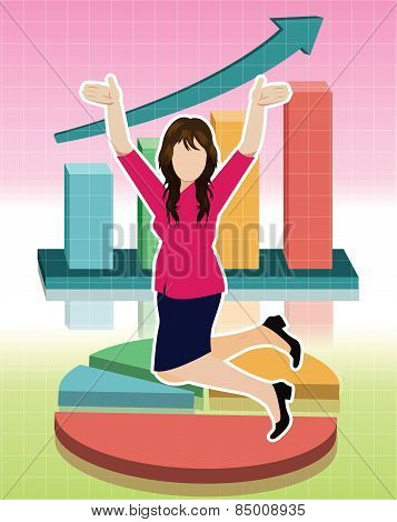 Businesswoman jumping with business graphs background