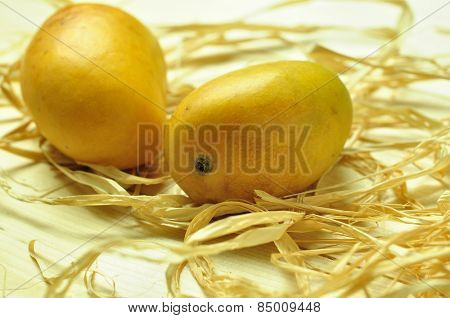 Ripped Indian mangoes placed on a dry grass.