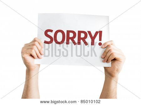Sorry! card isolated on white background