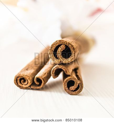 Cinnamon sticks on bright wooden background, focus on beginnings of sticks