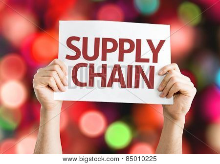 Supply Chain card with colorful background with defocused lights