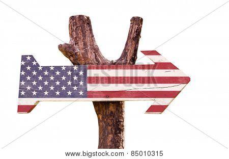 United States Flag wooden sign isolated on white background
