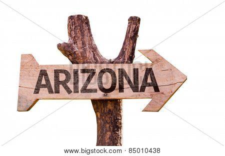 Arizona wooden sign isolated on white background