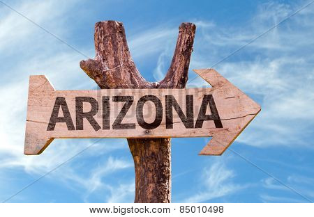 Arizona wooden sign with sky background