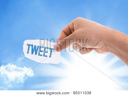 Tweet piece of paper with sky background