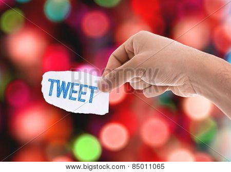 Tweet piece of paper with bokeh background
