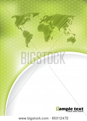 Green Hexagon Brochure Design With Scribbled Map