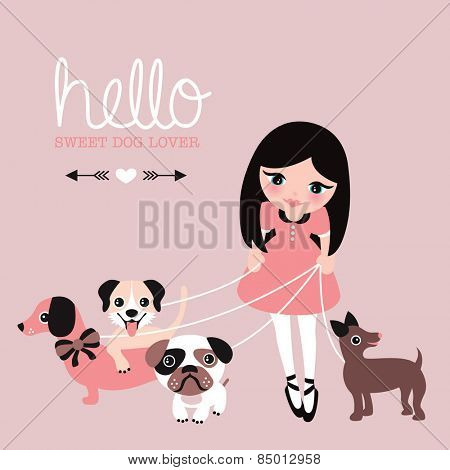 Hello dog lovers postcard little girl in dress walking her pug puppy dachshund and labrador illustration wall decor art for kids paper print design