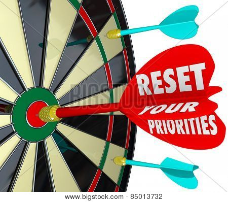 Reset Your Priorities words on a dart board to illustrate targeting most important jobs or tasks and changing the order to get them done