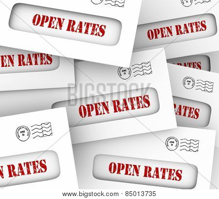 Open Rates in letters and envelopes to illustrate increasing success of targeted marketing campaign and winning new customers for your company or business