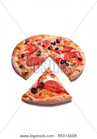 Tasty pizza with ham, tomatoes, and olives, selective focus, isolated on white background