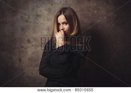 The Thoughtful Beautiful Woman Is Confused
