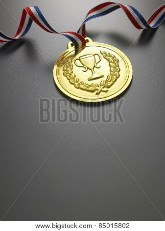 golden medal on the gray background