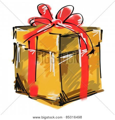 art digital acrylic painted one giftbox with red bow isolated on white background