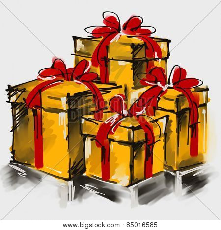 art digital acrylic painted golden giftboxes with red bows isolated on white background