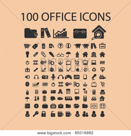100 office, document, work, organization isolated icons, signs, silhouettes, illustrations,  set, vector