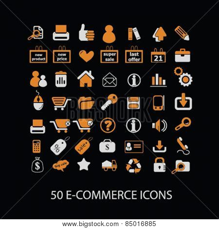 50 e-commerce, store, shop, retail, internet marketing isolated icons, signs, silhouettes, illustrations,  set, vector
