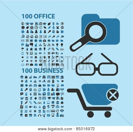 200 office, business, ecommerce, retail, sales isolated icons, signs, illustrations concept design set on background for website, internet, template, application, advertising.