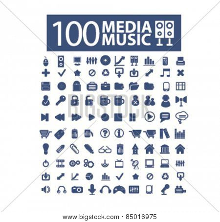 100 media, music, audio isolated icons, signs, illustrations concept design set on background for mobile application, website, adverisement, vector