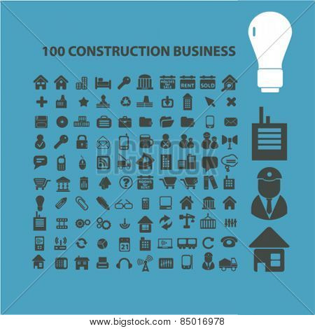 100 construction business isolated icons, signs, illustrations concept design set on background for mobile application, website, adverisement, vector