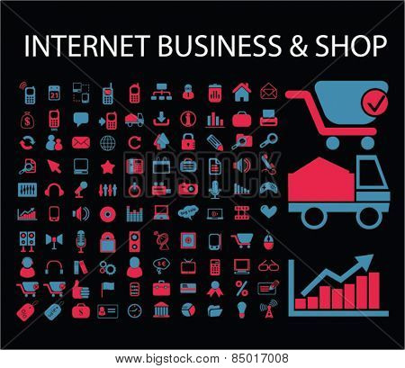 internet business, marketing, email, shop, delivery, store, commerce, retail isolated icons, signs, silhouettes, illustrations,  set, vector
