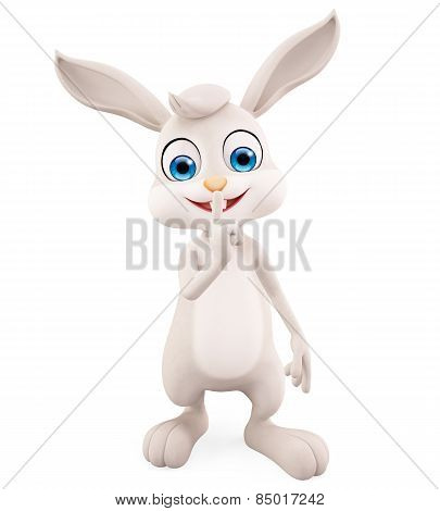 Easter Bunny With Keep Silent Pose