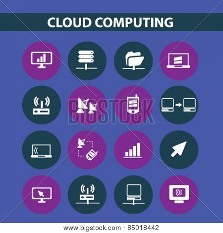 cloud computing isolated icons, signs, illustrations concept design set on background for mobile application, website, adverisement, vector