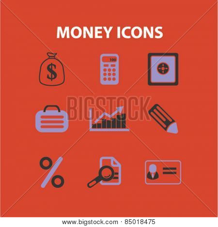 money, bank, finance isolated icons, signs, silhouettes, illustrations,  set, vector