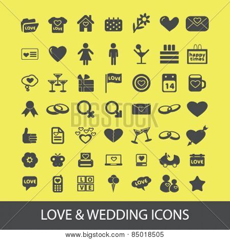 love, wedding, romance, family isolated icons, signs, silhouettes, illustrations,  set, vector