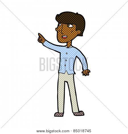retro comic book style cartoon man pointing the way