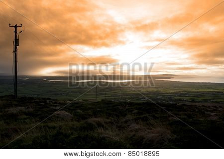 View Of The Kerry Coast With Telegraph Masts