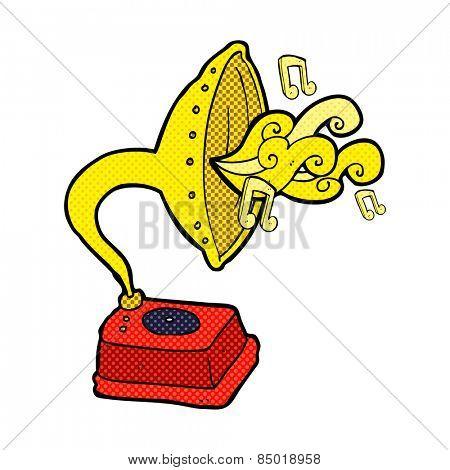 retro comic book style cartoon phonograph