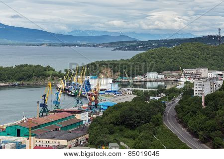 View On Seaport Petropavlovsk-kamchatsky City. Russia, Far East, Kamchatka, Avachinskaya Bay