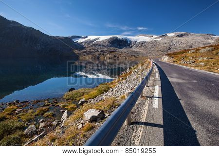 Norwegian road in mountains in autumn