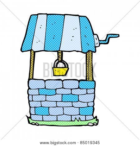 retro comic book style cartoon wishing well