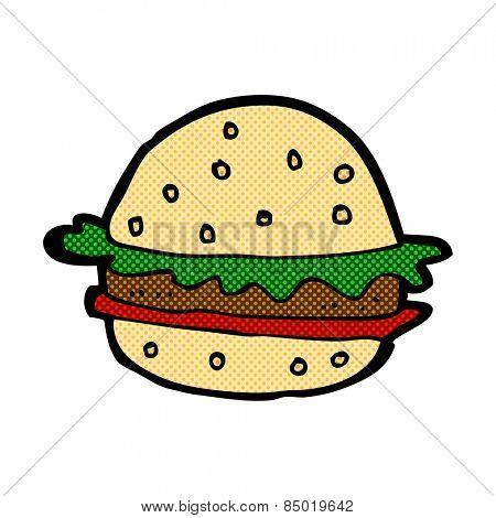 retro comic book style cartoon hamburger