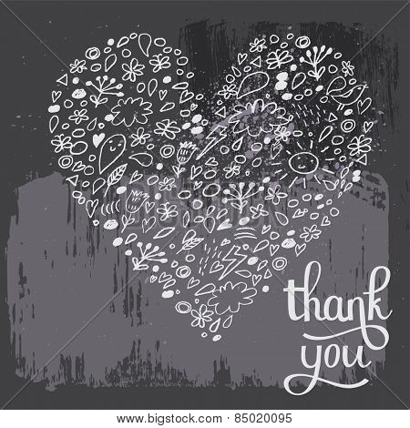 Stunning thank you card in vector. Sweet heart made of cute cartoon symbols: clouds, sun, lightning and flowers