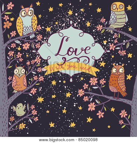 Lovely owls on branch in night flowers. Romantic concept background. Bright illustration, can be used as invitation card. Love is all you need - vector summer wallpaper