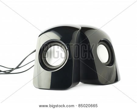 Pair of black sound speakers isolated