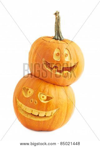 Two Halloween pumpkin composition isolated