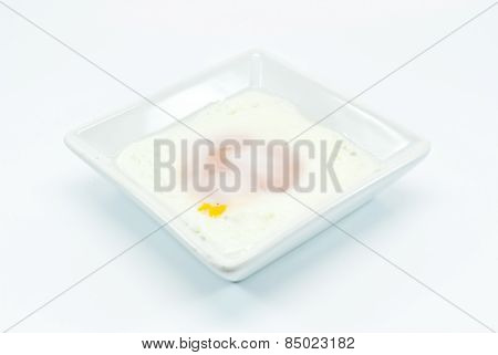 Fried Egg In White Bowl Isolated Before White Background